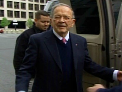 Video of former Sen. Ted Stevens outside of the court house.
