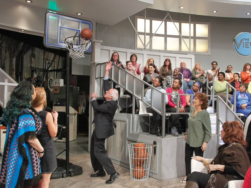 PHOTO: Democratic Presidential Candidate Senator Bernie Sanders shot hoops on the set of The View, Feb. 10, 2016. It was his first interview following his victory in the New Hampshire primary.