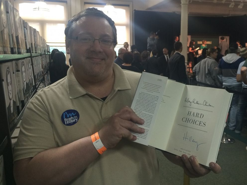 PHOTO: Sean Brennan after Hillary Clinton autographed his copy of Hard Choices.