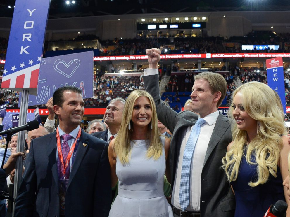 PHOTO: The Trump family at the 2016 Republican National Convention from the Convention Center in Cleveland, Ohio, which airs on all ABC News programs and platforms, on July, 19, 2016.
