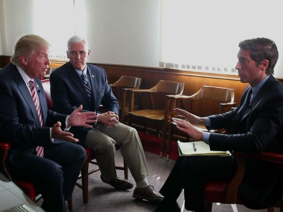 PHOTO: Anchor David Muir conducted joint interviews with Hillary Clintons running mate, Senator Tim Kaine, and with Republican presidential candidate Donald Trump, on Sept. 5, 2016.