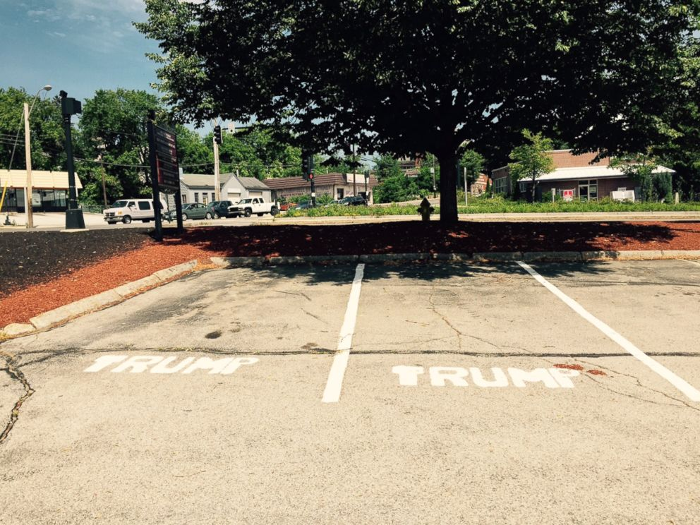PHOTO: Three parking spaces in a Manchester, N.H. office space have already received the Trump treatment.