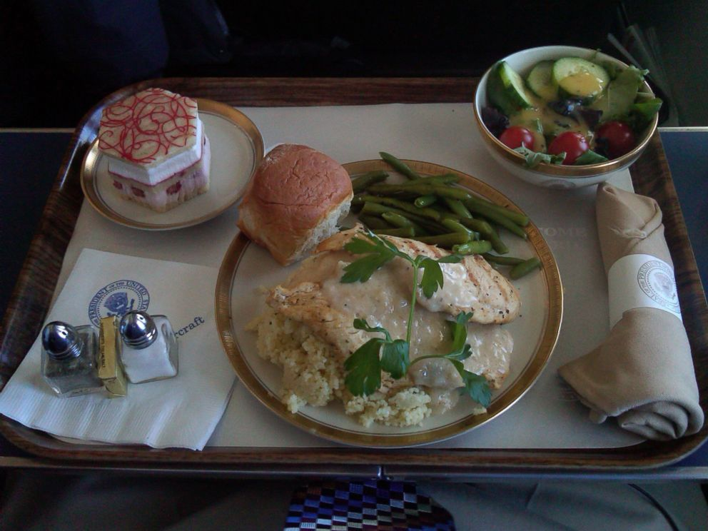 PHOTO: This photo shows a typical meal on Air Force One.