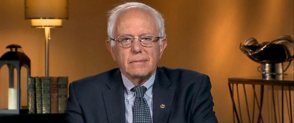 "PHOTO: 2016 presidential candidate Vermont Sen. Bernie Sanders is interviewed on ""This Week with George Stephanopoulos."""