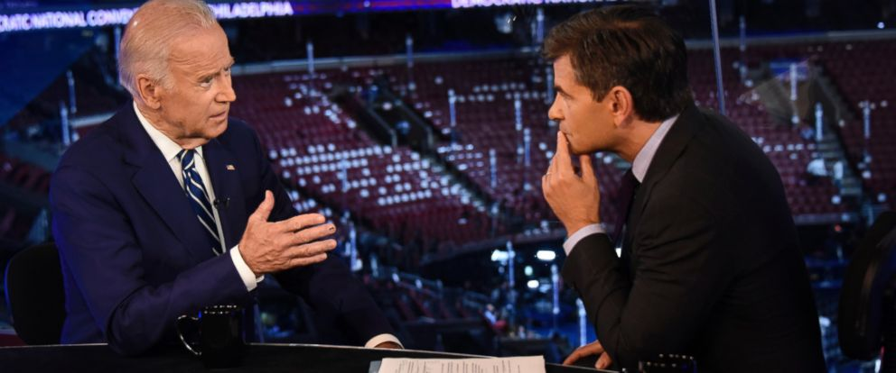 PHOTO: Vice President Joe Biden talks to George Stephanopoulos during ABC News coverage of the 2016 Democratic National Convention from the Wells Fargo Center in Philadelphia, July 26, 2016.