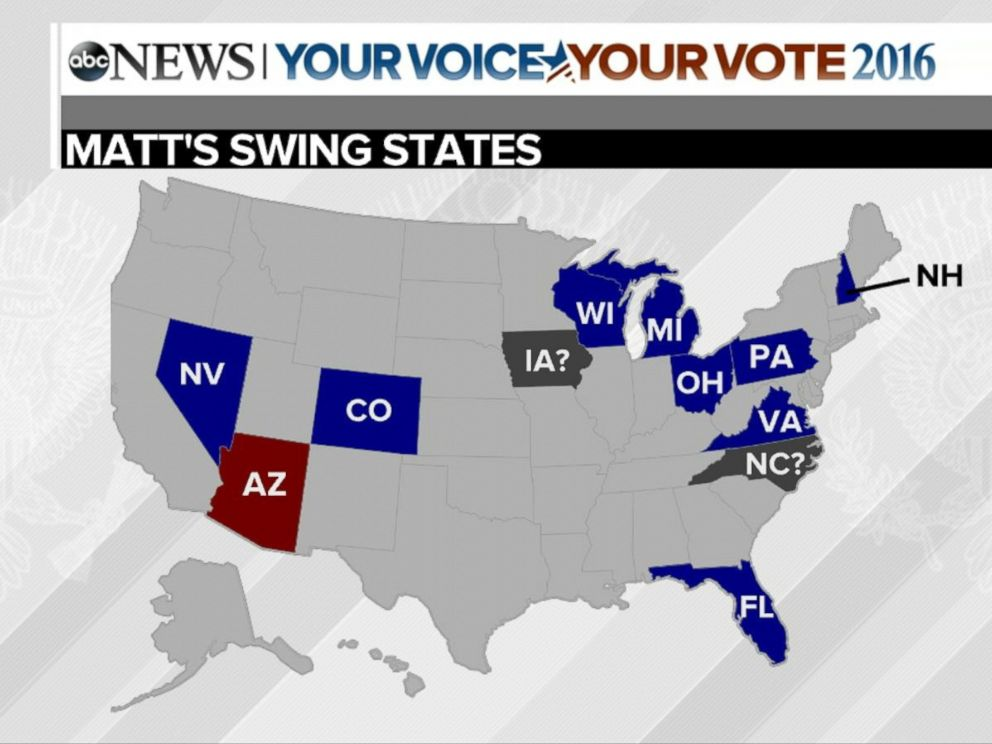 PHOTO:Map showing the swing states in play in the 2016 Presidential election.