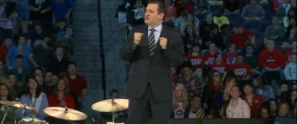 "PHOTO: Students wear ""Stand With Rand"" shirts behind Sen. Ted Cruz as he announces his candidacy"