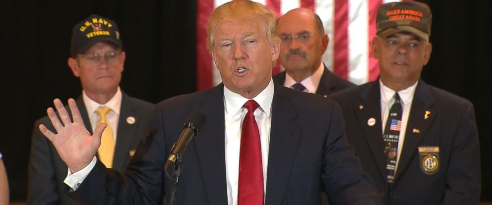 PHOTO:Donald Trump holds a news conference regarding donations to veterans in the lobby of Trump Tower in New York, May 31, 2016.