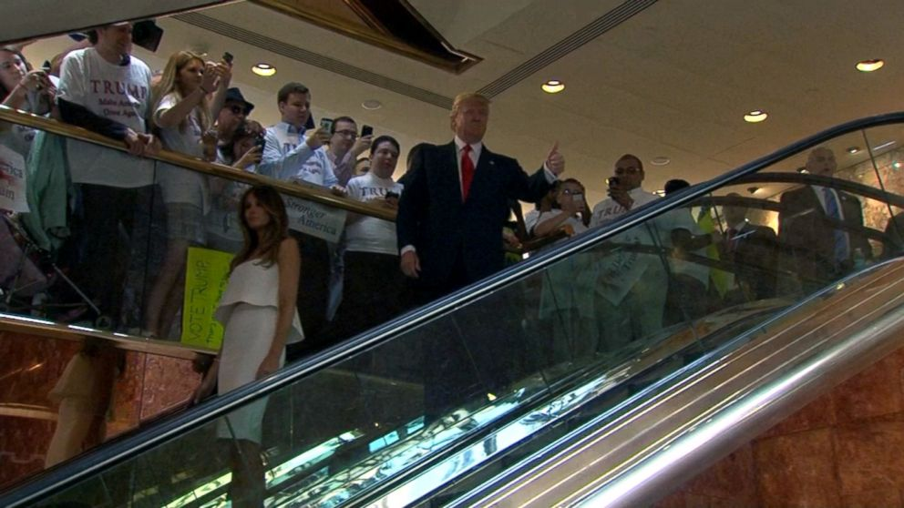Image result for trump on escalator