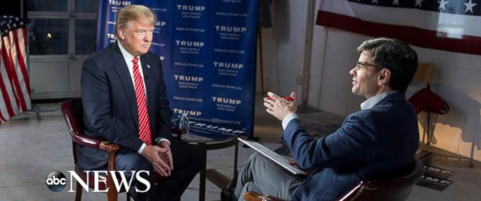 PHOTO: ABC News chief anchor George Stephanopoulos interviews Donald Trump on Jan. 16, 2016.