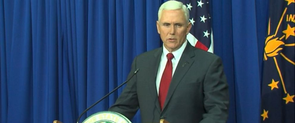 PHOTO: Gov. Mike Pence speaks during a press conference on the Religious Freedom Restoration Ac