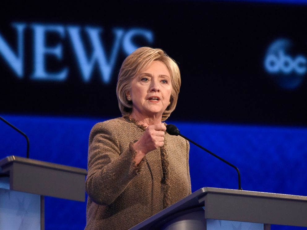 PHOTO:Hillary Clinton speaks at the Democratic Presidential debate from St. Anselm College in Manchester, NH, Dec. 19, 2015.