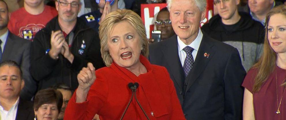 PHOTO: Hillary Clinton spoke on the evening of the Iowa Caucus, Feb. 1, 2016.