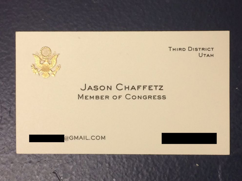 PHOTO: Rep. Jason Chaffetzs, R-Utah, House business card lists a Gmail email address.