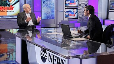 "PHOTO: Iranian Foreign Minister Javad Zarif is interviewed by ABCs George Stephanopoulos for ""This Week"" on Sunday September 29, 2013."