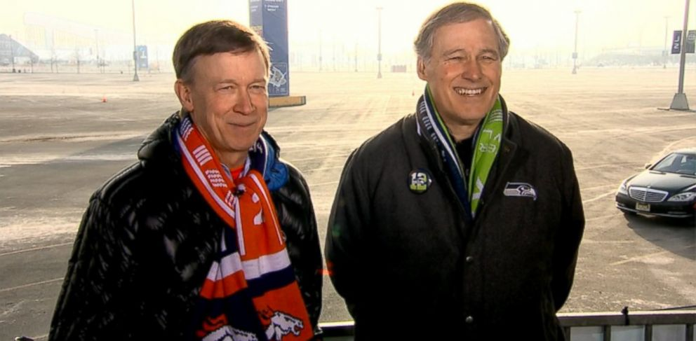 PHOTO: Governor Jay Inslee (D) Washington and Governor John Hickenlooper (D) Colorado on This Week