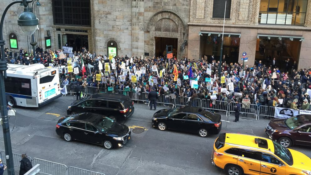 Crowds of protesters gathered on April 14, 2016, near the Grand Hyatt New York where a Republican gala is going to be held, in New York.