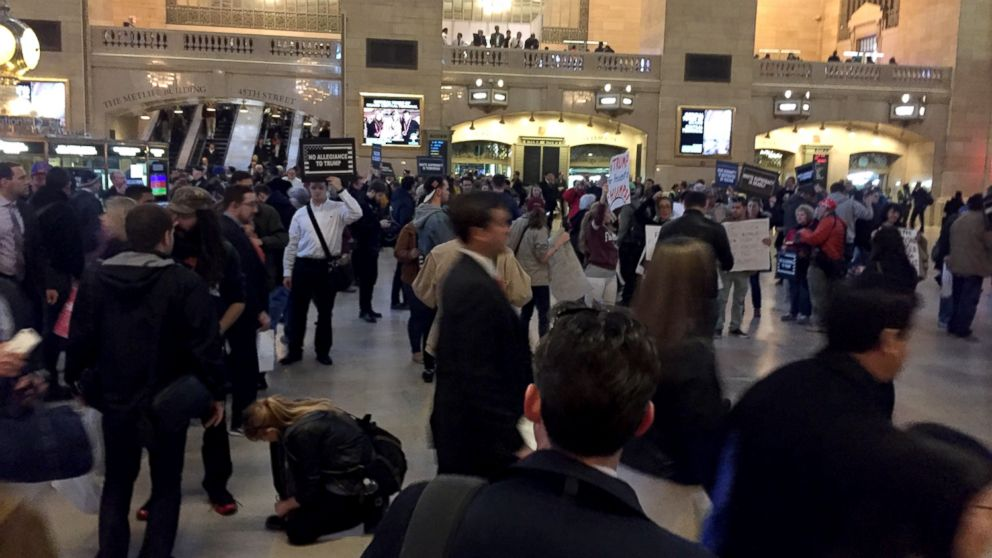 Crowds of protesters gathered on April 14, 2016, near the Grand Hyatt New York and in Grand Central Station where a Republican gala is going to be held, in New York.