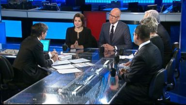 PHOTO: ABC News Cokie Roberts, Representative Keith Ellison (D) Minnesota, The Wall Street Journal Editorial Page Editor Paul Gigot, New York Magazine National Affairs Editor John Heilemann, and Republican Strategist Ana Navarro on This Week
