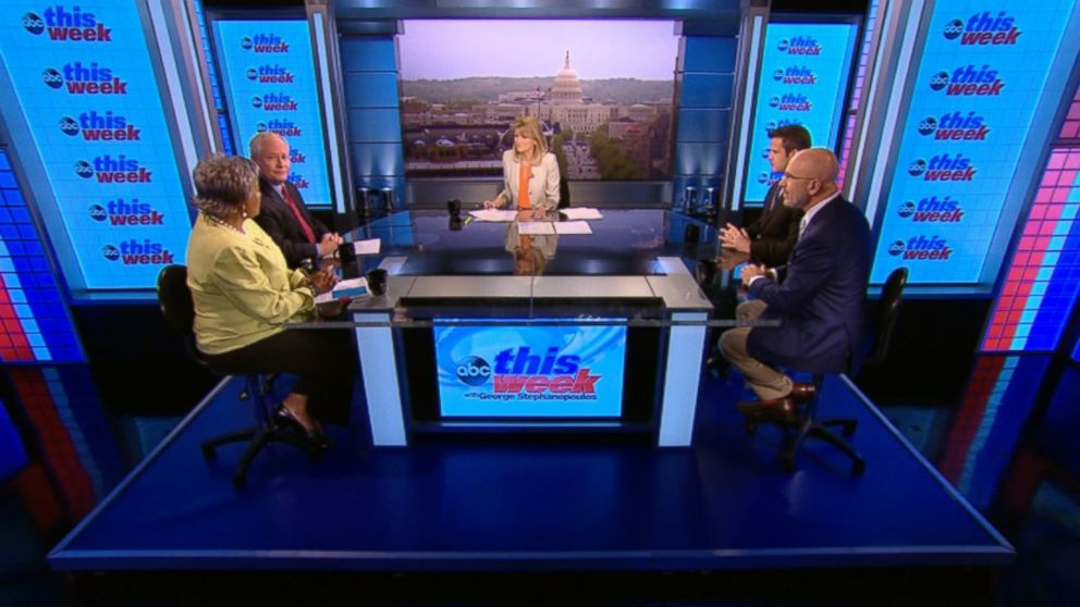 "ABC News Contributor and Democratic Strategist Donna Brazile, ABC News Contributor and The Weekly Standard Editor Bill Kristol, Rep Adam Kinzinger (R) Illinois and SiriusXM's ""The Michael Smerconish Program"" Host Michael Smerconish on 'This Week'"