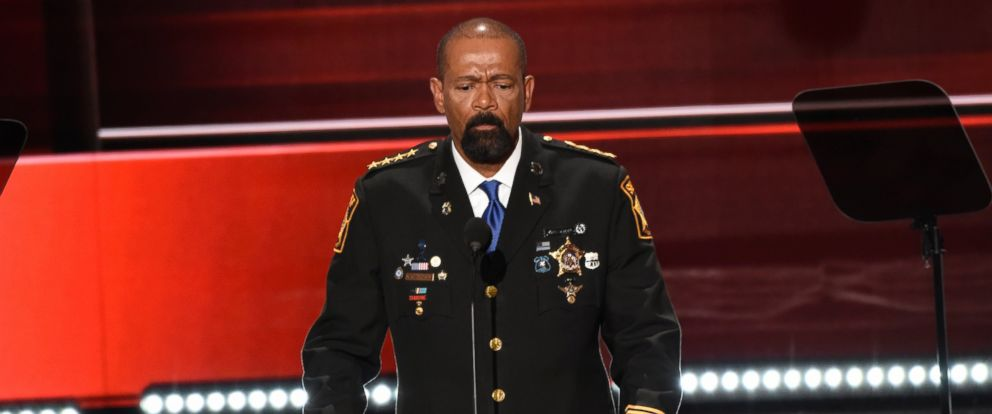 PHOTO: Sheriff David A. Clarke is pictured at the 2016 Republican National Convention from the Convention Center in Cleveland, Ohio, July 18, 2016.