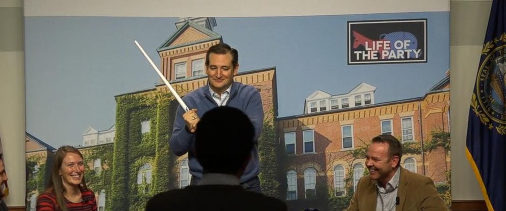 PHOTO: At a town hall in New Hampshire Jan. 21, 2016 Ted Cruz was handed a light saber by an attendee. The Texas Sen. is a big Star Wars fan and has impersonated Yoda and Darth Vader on the campaign trail.