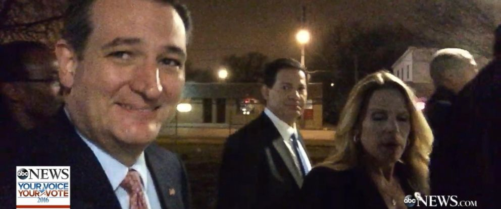 PHOTO: Sen. Ted Cruz walked to give a speech after the Iowa Caucus, Feb. 1, 2016.