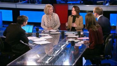 "PHOTO: ABC News Chief White House Correspondent Jonathan Karl, Host, Fusions ""AM Tonight"" Alicia Menendez, The Nation Editor and Publisher Katrina vanden Heuvel, and The Wall Street Journal Columnist Peggy Noonan on This Week"