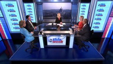 PHOTO: The Washington Post National Political Reporter Robert Costa, Television and Radio Host Tavis Smiley, Fox News AnchorGreta Van Susteren, and CNN Contributor Margaret Hoover on This Week