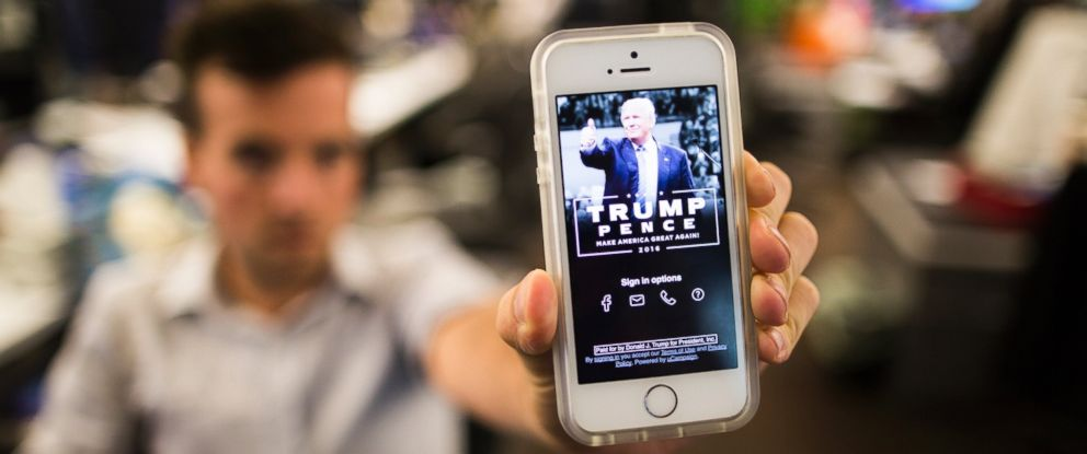 """PHOTO: A smartphone with the Trump campaign app """"America First,"""" open is seen here, AUg. 25, 2016."""