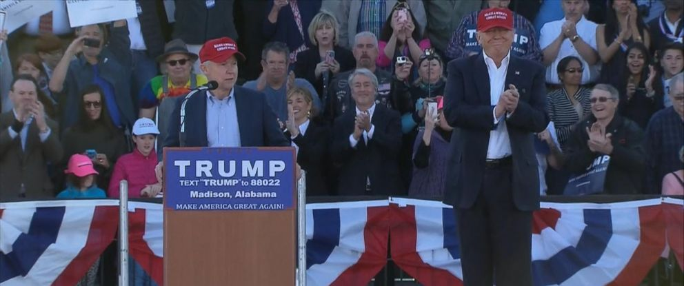 PHOTO: Sen. Jeff Sessions endoreses Donald Trump for president at a rally in Huntsville, Feb. 28, 2016.