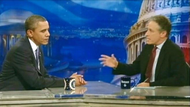 VIDEO: President Obama brings a somber message to Jon Stewarts The Daily Show.