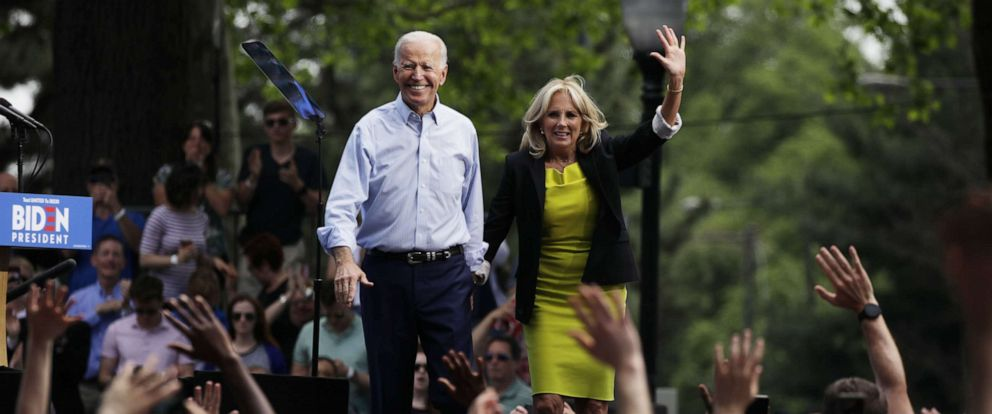 PHOTO: Joe Biden and wife Jill Biden speak during the kick off for his presidential election campaign in Philadelphia, on May 18, 2019.