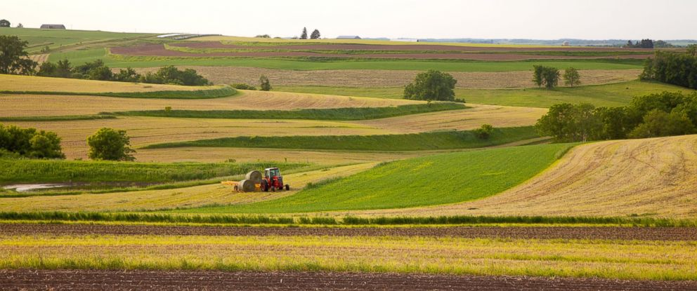 A tractor retrieving rolls of hay along the Driftless Area Scenic Byway, Allamakee County, Iowa, June 13, 2011.