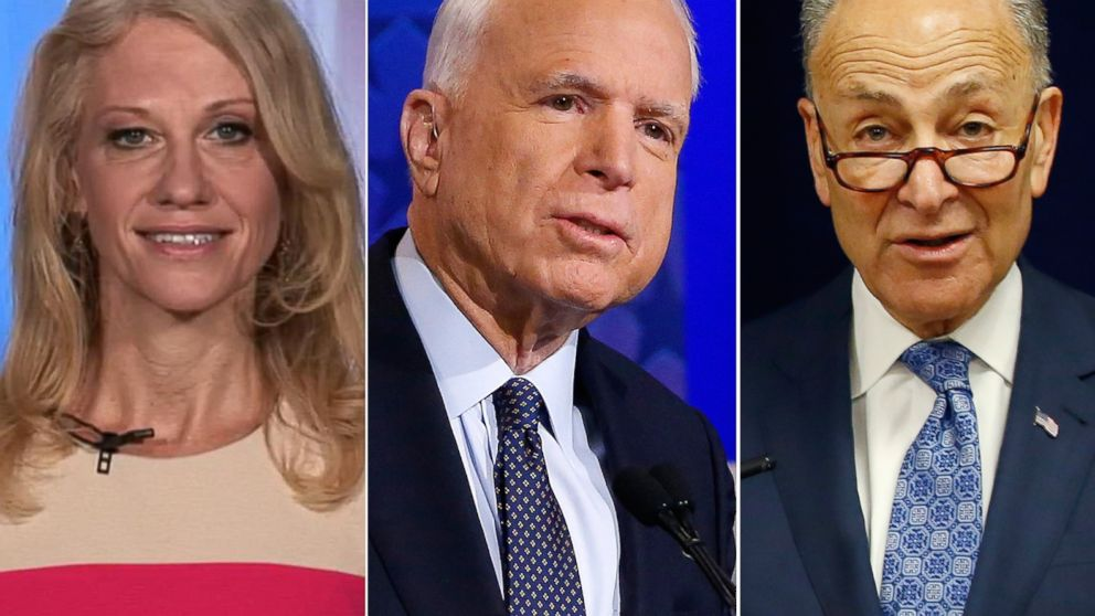 Pictured (L-R) are Kellyanne Conway in New York, Dec. 2, 1016, Sen. John McCain in Phoenix, Oct. 10, 2016 and Sen Charles Schumer in New York, April 4, 2016.