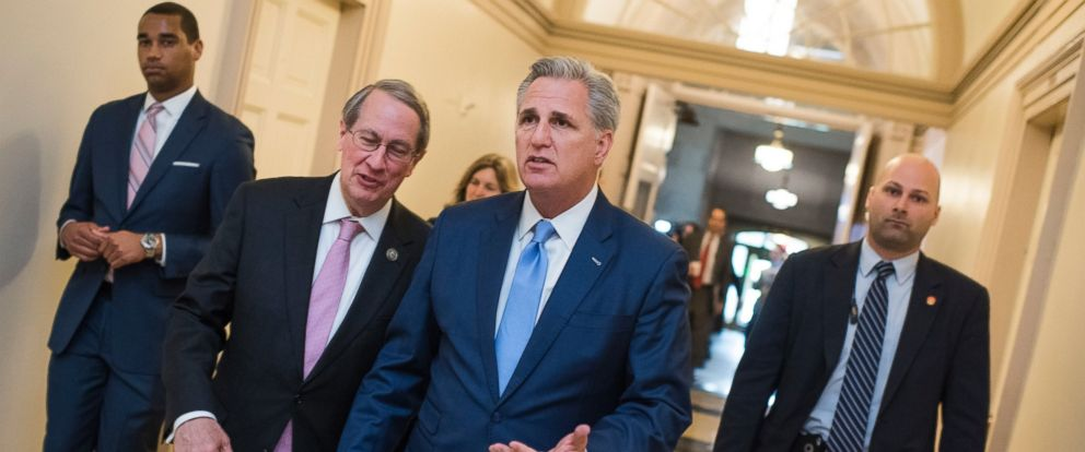 PHOTO: House Majority Leader Kevin McCarthy, R-Calif., right, and Rep. Bob Goodlatte, R-Va., leave a meeting of the House Republican Conference in the Capitol, on May 4, 2017, in Washington.