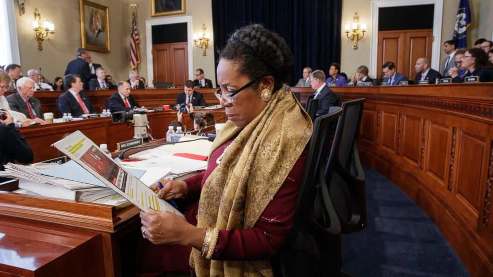 Rep. Sheila Jackson Lee, D-Texas, and the House Budget Committee works on the Republican health care bill, on Capitol Hill in Washington, March, 16, 2017.