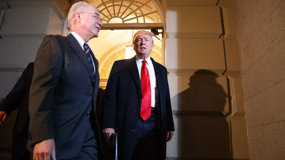 President Donald Trump and Heath and Human Services Secretary Tom Price arrive on Capitol Hill in Washington, March 21, 2017, for a meeting on healthcare with Republicans.
