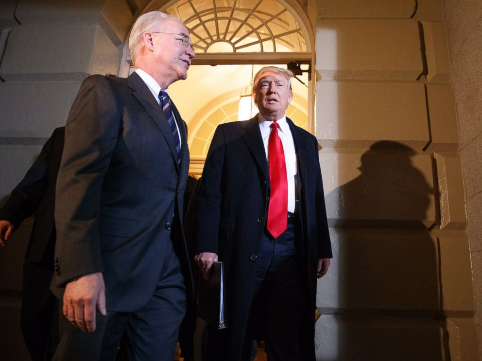 PHOTO: President Donald Trump and Heath and Human Services Secretary Tom Price arrive on Capitol Hill in Washington, March 21, 2017, for a meeting on healthcare with Republicans.