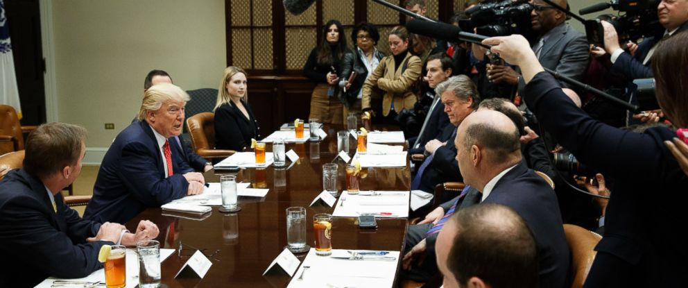 PHOTO: President Donald Trump speaks during a meeting on the Federal budget, on Feb. 22, 2017, in the Roosevelt Room of the White House in Washington.