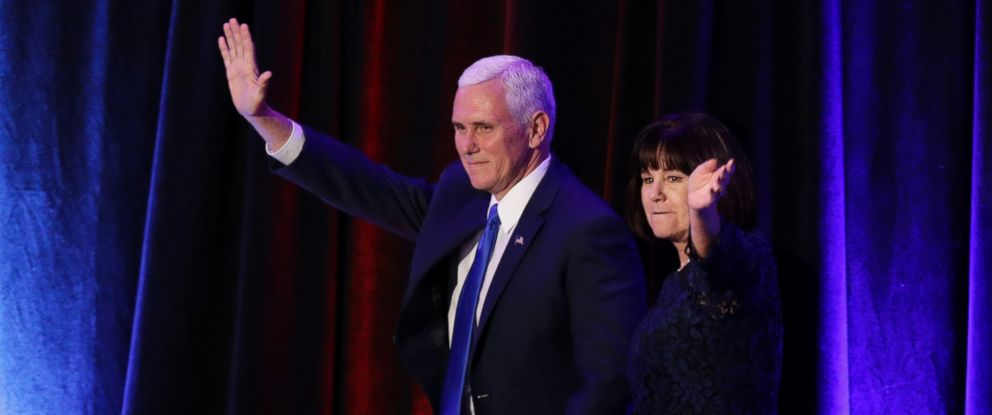PHOTO: Vice-President-elect Mike Pence and his wife Karen Pence wave as they arrive during his election night rally, Nov. 9, 2016, in New York.