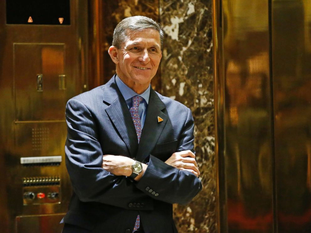 PHOTO: National Security Adviser-designate Michael T. Flynn waits for an elevator in the lobby at Trump Tower in New York, Dec.12,2016.