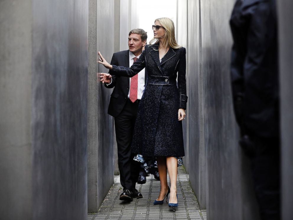 PHOTO: Ivanka Trump, daughter and adviser of U.S. President Donald Trump, touches a stllee when visiting the Memorial to the Murdered Jews of Europe after she participated in the W20 Summit in Berlin, April 25, 2017.