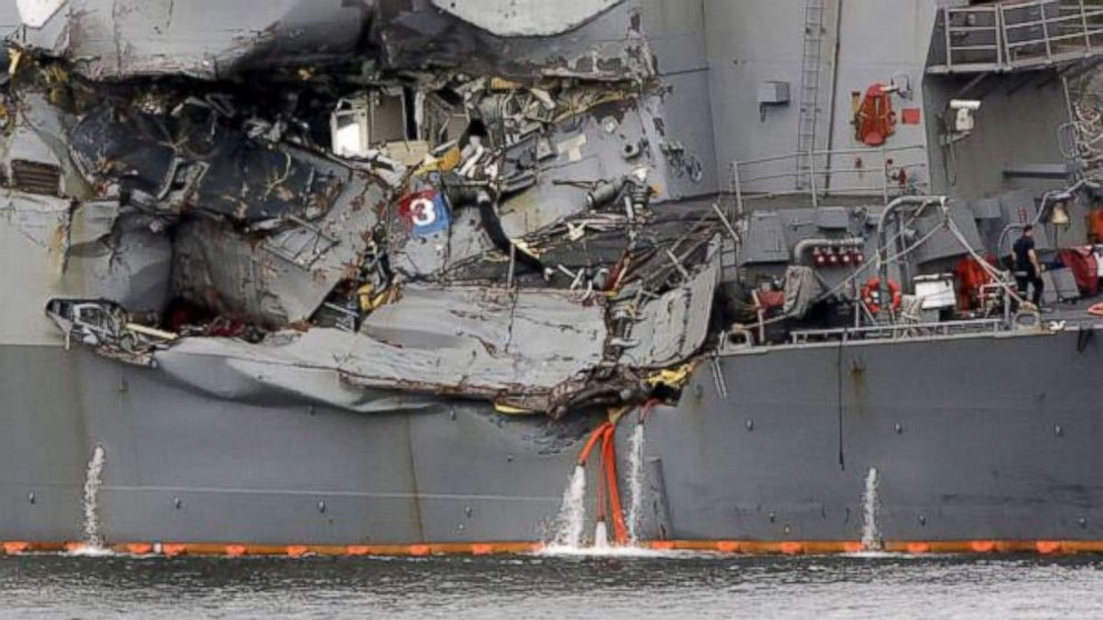 A damaged section of the USS Fitzgerald is seen at the U.S. Naval base in Yokosuka, southwest of Tokyo, June 18, 2017.