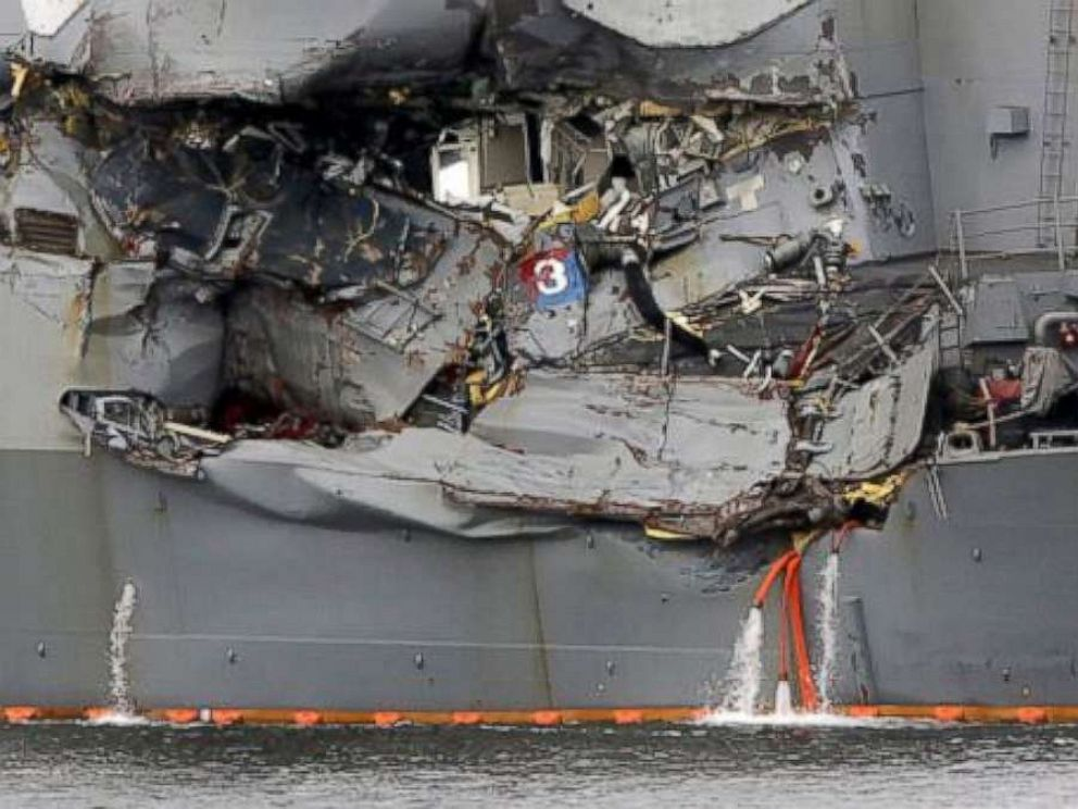 PHOTO: A damaged section of the USS Fitzgerald is seen at the U.S. Naval base in Yokosuka, southwest of Tokyo, June 18, 2017.