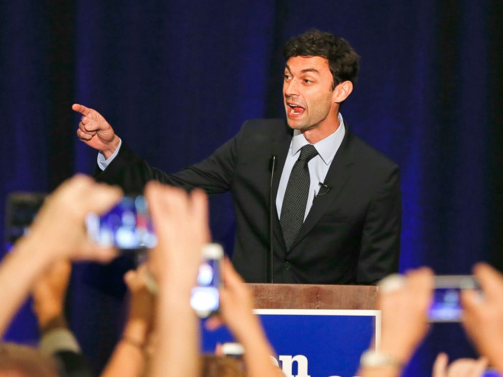 PHOTO: Democratic candidate for Georgias Sixth Congressional Seat Jon Ossoff speaks to supporters during an election-night watch party, April 18, 2017, in Dunwoody, Ga.