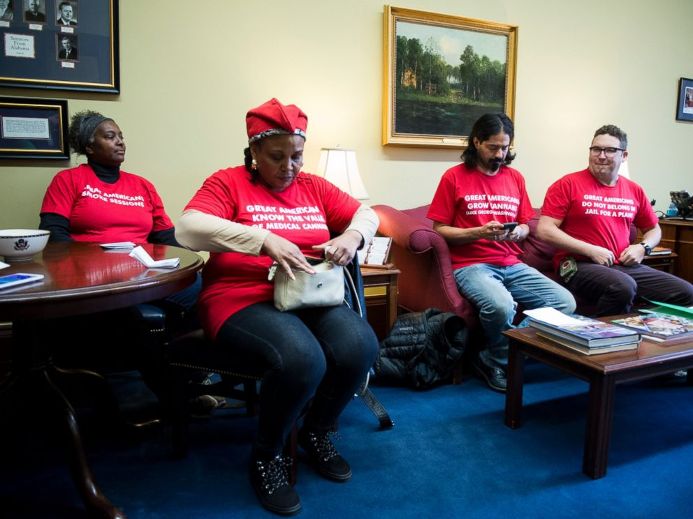 PHOTO: Adam Eidinger, far right, and a few other members of the Washington, DC marijuana rights group DCMJ wait in the Capitol Hill office of Sen. Jeff Sessions, R-Ala., Nov. 28, 2016.