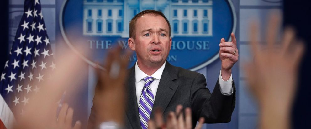 PHOTO: Budget Director Mick Mulvaney speaks to reporters during a daily press briefing at the White House in Washington, Feb. 27, 2017.
