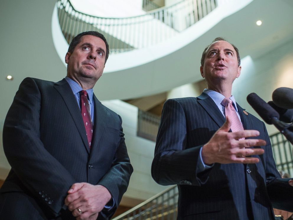 PHOTO: Rep. Adam Schiff, D-Calif., right, and Chairman Devin Nunes, R-Calif., conduct a news conference in the Capitol Visitor Center after a briefing with FBI Director James Comey about Russia, March 2, 2017.
