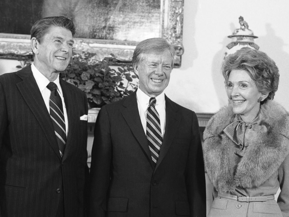 PHOTO: President Jimmy Carter shown with President-elect Ronald Reagan and his wife Nancy in the Oval Office of the White House on Nov. 20, 1980. Mrs. Reagan received a tour of the family quarters while the two leaders met in the Oval Office.